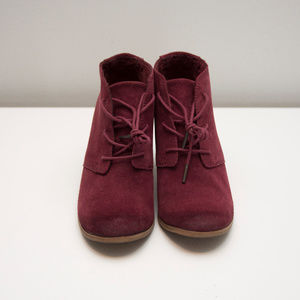 Toms Shoes - Toms Lunata heeled lace-up boot in Burgundy